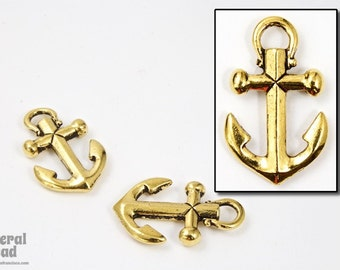 20mm x 12mm Antique Gold Tierracast Pewter Anchor Charm #CKB007
