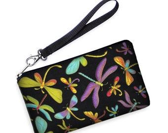 Phone Wallet w/ Strap, Lg Case, HTC One Bag, Galaxy S7 Edge Purse, Smartphone Wristlet, iPhone 6 Case, dragonflies green purple  black SALE