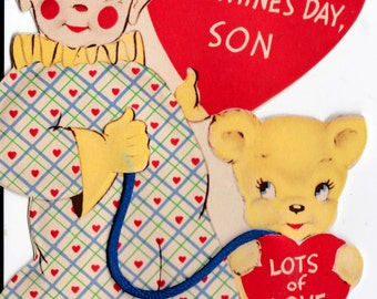 Vintage Original 1920's Love On Valentine's Day Son Clown and Teddy Bear Valentine's Day Greetings Card (B17)