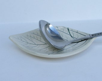 Ceramic Spoon Rest/Plate Persimmon Leaf Plate