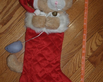 Personalized Christmas Stocking, Personalized Cat Stocking, Christmas Cat Stocking, Red Stocking