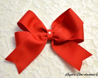 Red Tails Down Hair Bow, 4 Sizes Available, small, medium, large, extra large, red hair bow, baby bow, toddler bow