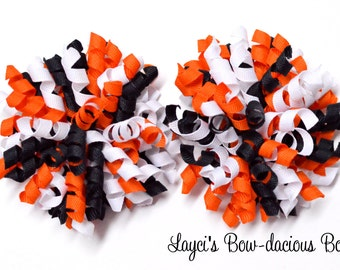 HALLOWEEN  Korker Hair Bows, set of two korkers, black white orange, 3 inch korkers, pigtail bows, halloween bows, toddler girls, girls bows