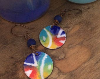 Colorful Enamel and Copper Earrings, Bold Tribal Design, Torch Fired Enamel Earrings with Cobalt Blue Glass