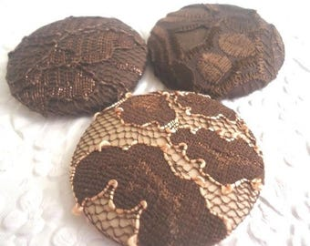 CLEARANCE - Brown lace buttons, fabric covered buttons ,size 75 buttons