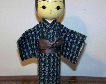Vintage Japanese Wooden Kokeshi Doll Bobber Nodder Hand Painted Cloth Kimono Okinawa