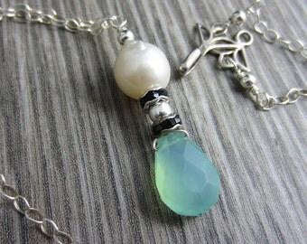 Sea Drop Necklace - Baroque Freshwater Pearl, Aqua Chalcedony and Swarovsky in Sterling Silver