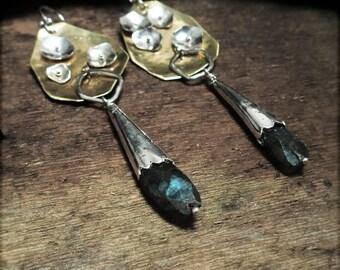 E1527 Modern Abstract Asymmetrical Labradorite earrings