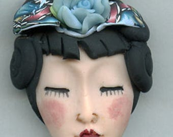 Polymer Clay OOAK   Detailed Asian  Art Doll Face with Hair Cab  AWHR 4