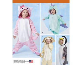 Simplicity Pattern 1032 Kitty Unicorn Dog Penguin Costumes Toddler Size 1/2 - 4