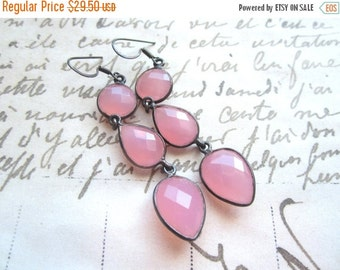 BlackFridaySale Rose Quartz Gemstone Earrings, Pink  Rose Quartz Dangle Earrings, Oxidized Sterling Silver.