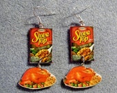 Stove Top Stuffing Turkey Thanksgiving Kitsch Junk Food Polymer Clay Earrings 2