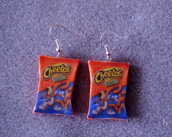 Cheetos Puffs Kitsch Dangle Polymer Clay Junk Food Earrings Hypo Allergenic Nickle-Free