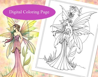 Fairy of Spring - Digital Stamp - Printable - Fairy Art - Molly Harrison Fantasy Art - Digistamp Coloring Page - Digi Stamp