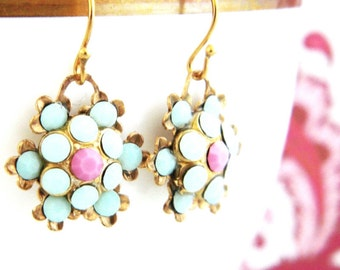 Mint Green Pale Pink Rhinestone Flower Drop  Earrings