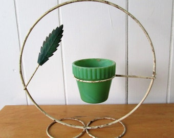 vintage Akro jadiete glass planter in stand art deco style