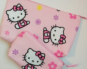 KITTY 2 Piece Set Zippered Wallet and Coin Pouch Make Up Bag Pencil Case Anime Cosplay