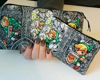 Zelda Link 2 Piece Set Zippered Wallet and Coin Pouch Make Up Bag Pencil Case Anime Cosplay