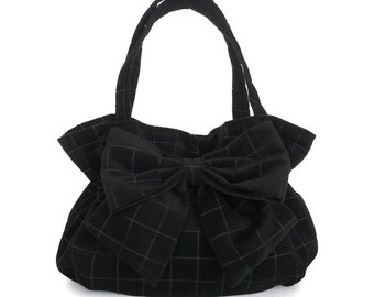 Black bow bag, Fabric handbag ,Black purse,Handmade, Ultra suede handbag,Vegan bag, Evening purse,Grid purse, Mother's day gift , Black bag