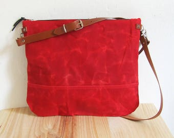 Waxed Canvas Bag for Woman ,  Crossbody Bag , Handbag, Zipper Bag