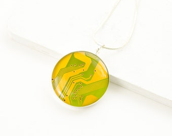 Circuit Board Necklace Bright Yellow - Recycled Computer Circuit Board Jewelry - Engineer Gift - Wearable Technology - Scientist Jewelry