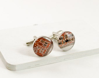 Circuit Board Cufflinks Tangerine Orange - Computer Cuff Links - Geeky Gift - Techie Jewelry