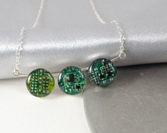 Circuit Board Necklace Green, Sterling Silver Jewelry, Colorful Necklace, Wearable Technology, Artisan Silver Necklace, Geeky Engineer Gift