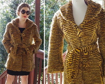 TIGER 1960's 70's Vintage Fuzzy Faux Fur Striped Golden Brown Belted Jacket w/ Ball Buttons // size Medium