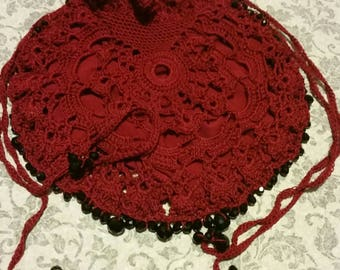 Burgundy Beaded Red Scarlet Lace Crochet Purse Reticule Handbag Steampunk Victorian Edwardian English Renaissance Vampire