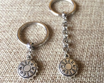 Silver Beer Cap Keychain  Key Ring or Zipper Pull
