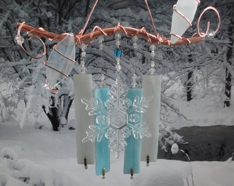 Winter Branch, Stained Glass and Metal Sculpture, Home Decor, Wind Chime, Garden, Wall Hanging, Winters Eve Collection, Snowflake, Blue, Ice