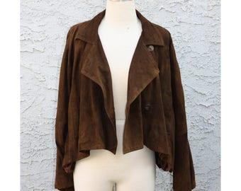 Rich Brown Suede Jacket - Vintage Ivan Grundahl Designer Coat, Size 36 / US M - Unusual Shape Batwing Cape Jedi Style Cut, Leather Outerwear