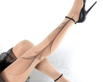 ON SALE/// Tattoo Tights -  Lines one size nude full length printed tights, pantyhose, nylons by tattoosocks