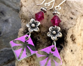 Long Dichroic Glass Earrings - hand etched Pink Dragonfly