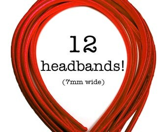12 Red satin headbands - skinny satin headbands in BULK