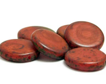 Czech Picasso Beads - Coin Beads - Czech Glass Beads - Chunky Beads - Glass Beads - Czech Beads - 6pcs (3092)
