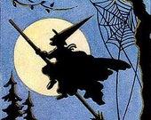 Halloween Greetings Witch Cross Stitch Pattern PDF