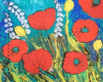Red Poppy Garden- mixed media encaustic painting by Maria Pace-Wynters