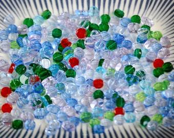 HEART ROUND PADDLE Flat Mix Pressed Glass Czech Beads (1.65 Oz) MIX7
