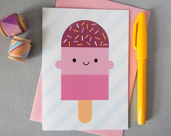 Kawaii Ice Lolly / Popsicle Card - Summer Holiday Greetings