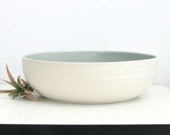 Large Wide Ceramic Serving Bowl Grey, Porcelain Groove Serving Bowl in Grey, Modern Pottery Bowl, Low Wide Ceramic Bowl