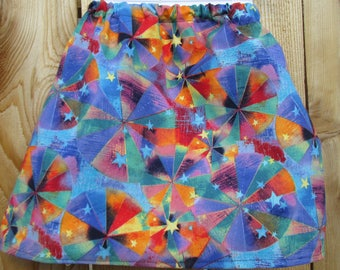 Rainbow pinwheels toddler skirt - summer fun - knee length