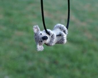 Tiny Koala Necklace / sculpture - needle felted
