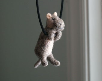 Tiny Hippo Necklace - needle felted
