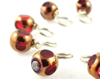 Red Lantern Droplet Stitch Markers Knitting or Crochet (Choose Your Size - Set of 10)