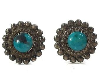 40s Navajo Sterling & Turquoise Earrings Vintage Fred Harvey Era Native American Silver Pierced Post Earrings Southwest Boho Tribal Hippie