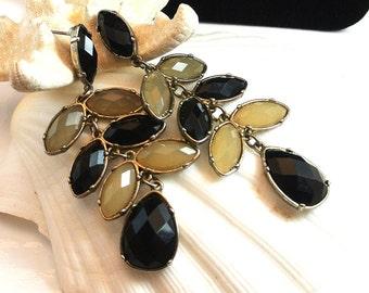 Vintage Dangle Earrings, Black Gray Glass Bead Earrings, 1970 Dangle Earrings, Black Gray Grey Earrings