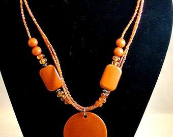 Orange Bead Necklace Orange Beads and Seed Bead Necklace Vintage Necklace 1970 Orange Necklace Statement Necklace