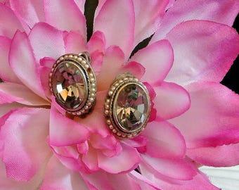 Gray Clip On Earrings, Vintage Smoky Gray Glass Clip On Earrings, Vintage E. Reimer Smoky Glass Clip On EarringS