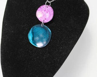 Turquoise and Pink Disk Pendant Necklace AIN6